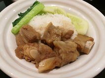 Pork stew. With white rice and vegetables stock images