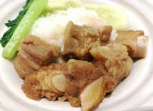 Pork stew. With white rice and vegetables stock photos