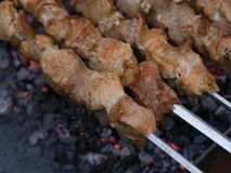 Pork strung on skewers roasted. On charcoal Royalty Free Stock Image