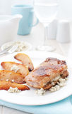 Pork stuffed with blue cheese with pears Stock Photo
