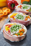 Pork Stuffed With Vegetables and Cheese Stock Photos