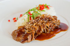 Pork in sweet and sour sauce Royalty Free Stock Photos