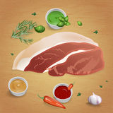 Pork with tasty sauces and spices Royalty Free Stock Photo