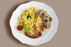 Pork tenderlion with Spätzle and champignons served on plate Royalty Free Stock Image