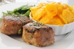 Pork tenderloin and au gratin potatoes Royalty Free Stock Photos