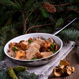 Pork tenderloin with Chanterelle sauce Royalty Free Stock Images