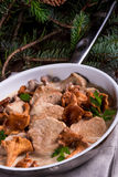 Pork tenderloin with Chanterelle sauce Stock Photos