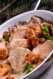 Pork tenderloin with Chanterelle sauce Stock Photography