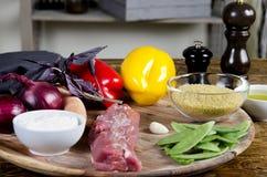 Pork tenderloin with fresh healthy  vegetables Royalty Free Stock Photography