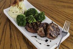 Pork Tenderloin with Mashed Potato and Broccoli Stock Photo