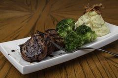 Pork Tenderloin with Mashed Potato and Broccoli Royalty Free Stock Photo