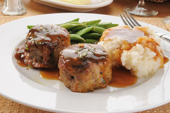 Pork tenderloin and mashed potatoes Royalty Free Stock Images