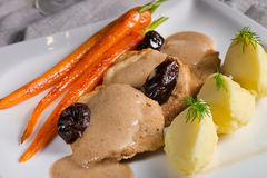 Pork tenderloin in plum sauce Royalty Free Stock Photography