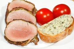 Pork tenderloin, pork medallions, grilled, pork, meat, bacon Royalty Free Stock Image