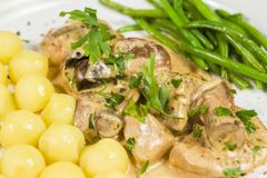 Pork tenderloin with potatoes and wild mushroom sauce and green beans on white plate. Close up stock photo