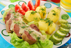 Pork tongue in horse radish and dill sauce. Dinner with stewed pork tongue in horse radish and dill sauce, boiled potatoes,vegetables Stock Image
