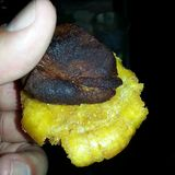 Pork and tostones Stock Photography