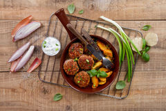 Pork or turkey meat balls Royalty Free Stock Image