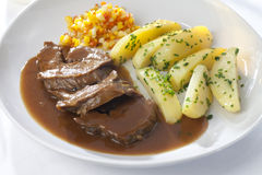 Pork Vegetable And Potatoes Served Royalty Free Stock Images