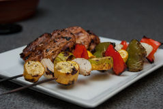 Pork and Vegetable Kabobs Stock Photography