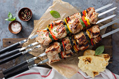 Pork and vegetable kebabs Royalty Free Stock Images