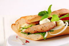 Pork and vegetable sandwich Royalty Free Stock Images