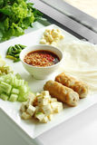 Pork and vegetable vietnamese and spicy sauce Stock Images