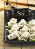 Pork and vegetable wonton. Pork and vegetable wonton with soy sauce Royalty Free Stock Photos
