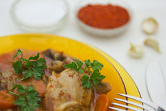 Pork with vegetables 4. Delicious pork with vegetables, salt and pepper Royalty Free Stock Image