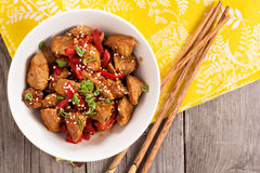 Pork with vegetables in asian style Stock Photo