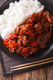 Pork with vegetables and garnish rice in Asian style. Vertical t Stock Images
