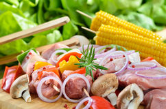 Pork and Vegetables on Skewers Stock Photography