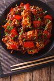 Pork with vegetables in a spicy sauce Asian style. Vertical top Royalty Free Stock Photo