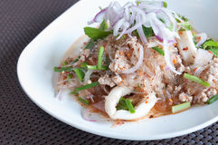 Pork with vermicelli and salad Stock Photos