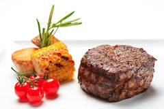 Pork well done  steak grill with vegetables Stock Photo