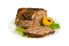 Pork from wild boar on the plate, isolated Stock Images