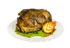 Pork from wild boar on the plate, isolated Royalty Free Stock Photos