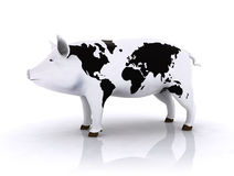 Pork with world map Royalty Free Stock Images
