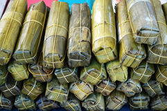 Pork wrap by banana leaves Royalty Free Stock Photography