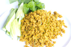 Pork with yellow curry paste. Food thailand Stock Photo