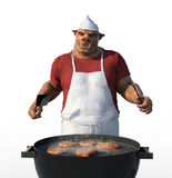 Porkman Cook Grilling Meat Royalty Free Stock Photos