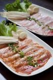 Porkskivor, koreansk grillfest Royaltyfri Foto