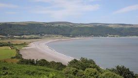 Porlock coast Somerset England UK near Exmoor PAN stock video