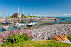 Porlock Weir. Boats in the outer harbour at Porlock Weir, Somerset England UK Stock Image