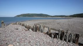 Porlock Weir beach Somerset on the Exmoor Heritage coast England UK in summer stock footage