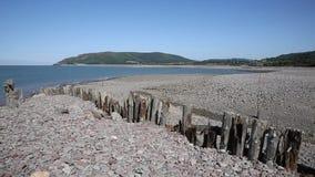 Porlock Weir beach Somerset on the Exmoor Heritage coast England UK in summer stock footage