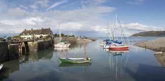 Porlock Weir Harbour. PORLOCK WEIR, UK - 16 SEPTEMBER, 2017 : Panoramic view of boats moored on the harbour at Porlock Weir,  a village in Exmoor on the South Royalty Free Stock Image