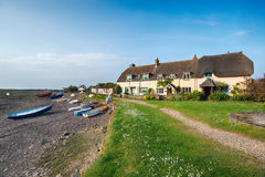 Porlock Weir in Somerset. Picturesque cottages at Porlock Weir on Exmoor National Park on the Somerset coast Stock Image
