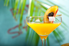 Porn Star Martini. Summer  Cocktail -  Pornstar Martini. Drink with Passion fruit, Vodka, Liquor, Vanilla Syrup, Champagne and Lime Juice. Tropical Leaf on Royalty Free Stock Photos