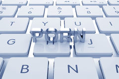Porn text on computed keyboard Royalty Free Stock Images